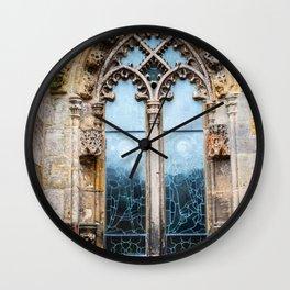 Stained glass window of Rosslyn Chapel outside Edinburgh, Scotland Wall Clock