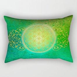 Flower Of Life Vintage gold green Rectangular Pillow