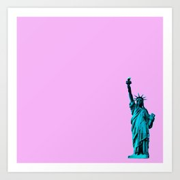 Blue Statue of Liberty on Pink Art Print