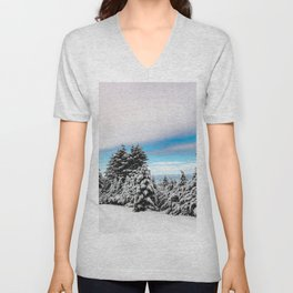Winter Woods VII - Snow Capped Forest Adventure Nature Photography Unisex V-Neck