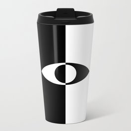 Eye - in a black has a white And in a white has a black Metal Travel Mug