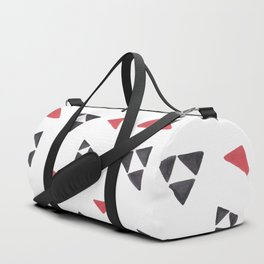 Hand painted watercolor black red geometrical triangles Duffle Bag