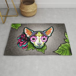 Chihuahua in Moo - Day of the Dead Sugar Skull Dog Rug