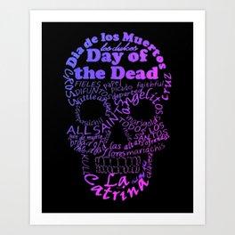 Purple Calavera Calligram Art Print