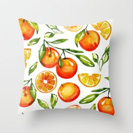 oranges watercolor tangerine fruit print Throw Pillow