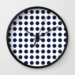 Simply Polka Dots in Nautical Navy Blue Wall Clock