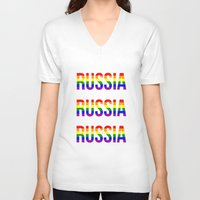 russia V-neck T-shirts featuring RUSSIA by Beauty Killer Art