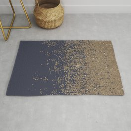 Navy Blue Gold Sparkly Glitter Ombre Rug