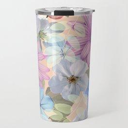 Pink and blue floral pattern Travel Mug