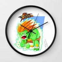 street fighter Wall Clocks featuring STREET FIGHTER - BLANCA by mirojunior
