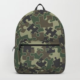 Jigsaw Puzzle Pieces Camo WOODLAND GREEN Backpack