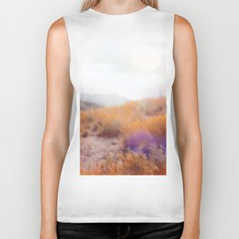 yellow flower field on the mountain with summer light bokeh abstract Biker Tank
