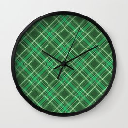 Green Tartan Plaid Wall Clock
