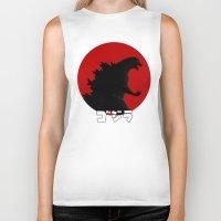 godzilla Biker Tanks featuring Godzilla by 100rings