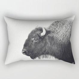 Buffalo Photograph in Black and White Rectangular Pillow