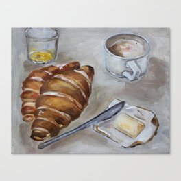 French breakfast, coffee and croissant, original oil painting, daily traditional art Canvas Print