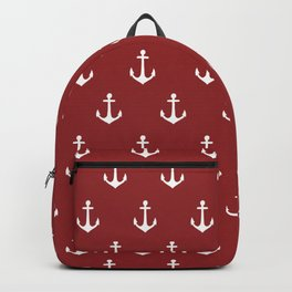 Maritime Nautical Red and White Anchor Pattern - Medium Size Anchors Backpack