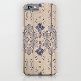 Lily Lake - Retro Floral Pattern Beige Indigo Blue iPhone Case