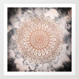 ROSE NIGHT MANDALA Art Print