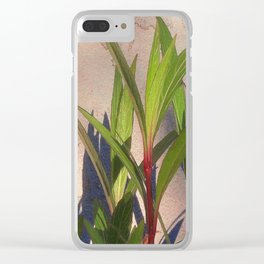 Long Green Leaves and Shadows Clear iPhone Case
