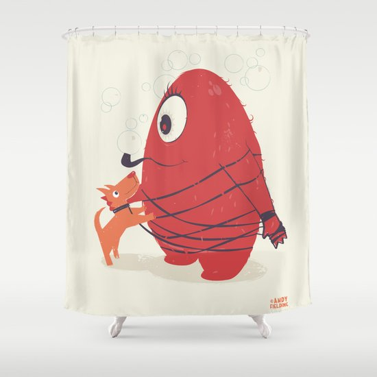 Cyclopes Monster Blob & Orange Dog Shower Curtain
