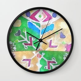 etno flower Wall Clock