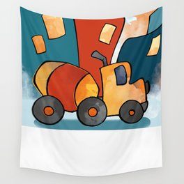 Cement Mixer, Construction Truck, Perfect for Child's Bedroom or Kid's Playroom Wall Tapestry