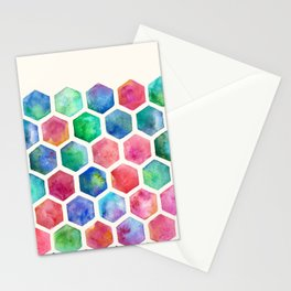 Hand Painted Watercolor Honeycomb Pattern Stationery Cards