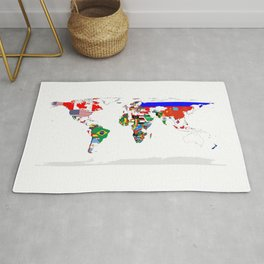 World Map with Country Flags Rug