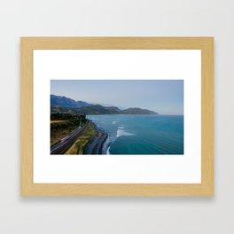 kaikoura oceanview mountains effect panorama new zealand Framed Art Print