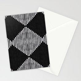 Diamond Stripe Geometric Block Print in Black & White Stationery Cards
