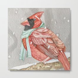 Cardinal in Blue Metal Print