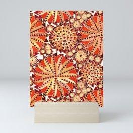 Tribal Mandala Print, Rust Orange and Brown Mini Art Print