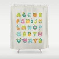 alphabet Shower Curtains featuring alphabet by lalehan canuyar