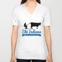 ski V-neck T-shirts featuring Ski Indiana  by Westfield ski and snowboard club