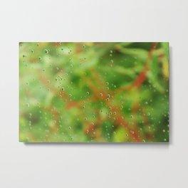 Rain drops on glasshouse window Metal Print