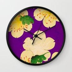 Purple Japanese Floral Vintage Pattern Wall Clock