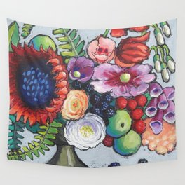 Red Sunflower Party Wall Tapestry
