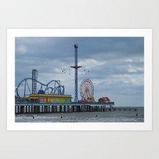 Pleasure Pier - Galveston Texas Art Print