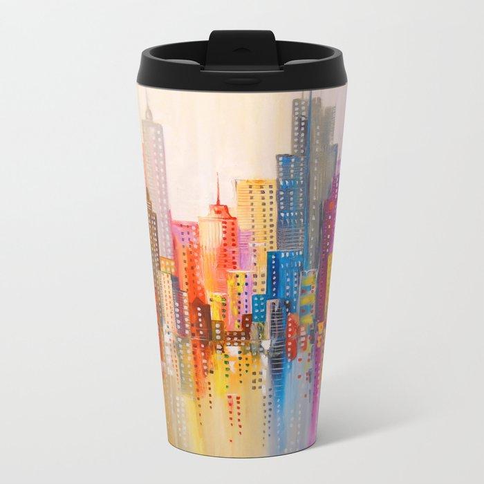 Rainbow city Metal Travel Mug