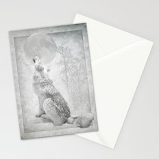 Wolf howl at the Moon Stationery Cards