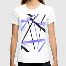 Criss Crossed Blue and Black Stripes on White T-shirt