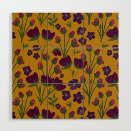 Purple and Gold Floral Seamless Illustration Wood Wall Art