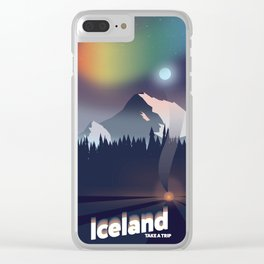Iceland Northern lights travel poster Clear iPhone Case