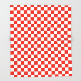 White and Scarlet Red Checkerboard Throw Blanket