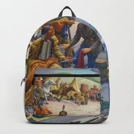 Shawnee & Chickasaw Native American Tribes meeting Missouri Frontier Settlers landscape by Thomas Hart Benton Backpack