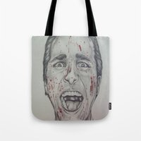 american psycho Tote Bags featuring American Psycho by A.H.
