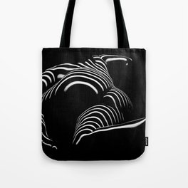 0758-AR BW Abstract Art Nude Striped Tote Bag