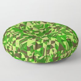 Colourful triangular mosaic in the nuance of green Floor Pillow