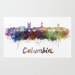 Columbia MO skyline in watercolor Rug